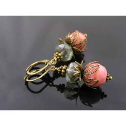 Mint Green and Dusky Pink Czech Bead Earrings