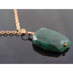 Faceted Green Aventurine Nugget Necklace