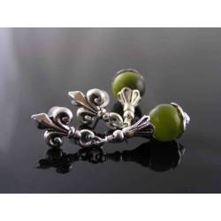 Fleur de Lys and Green Cat's Eye Earrings, Studs
