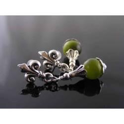 Fleur de Lys and Green Cat's Eye Earrings, Studs