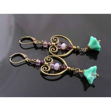 Heart Chandelier Earrings with Czech Flowers