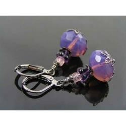 Lavender Opal Czech Bead Earrings