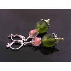 Faceted Olive and Pink Czech Bead Earrings