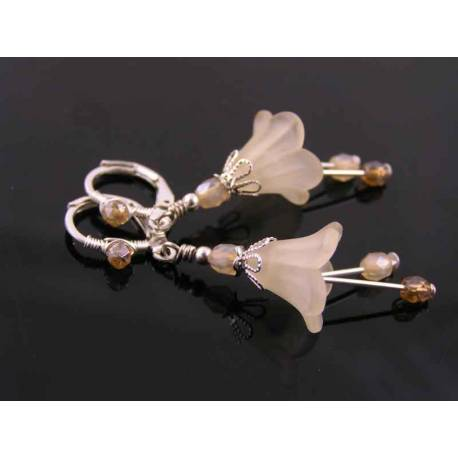 Champagne Lucite Flower Earrings
