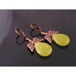 Olive Quartz, Copper Wings Earrings