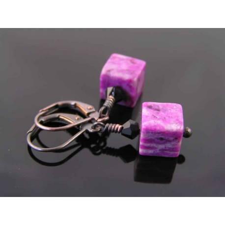 Cute Purple Sugilite Jasper Block Earrings