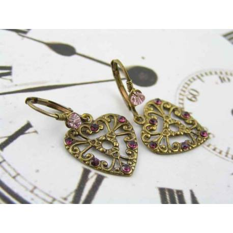 Crystal Set Heart Earrings