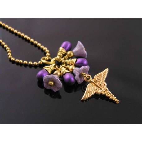 Caduceus Necklace with Purple Czech Flower and Drop Beads