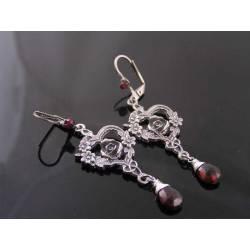 Garnet Rose Chandelier Earrings