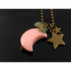 Pink Moon Necklace with Star Charms and Aventurine Stars