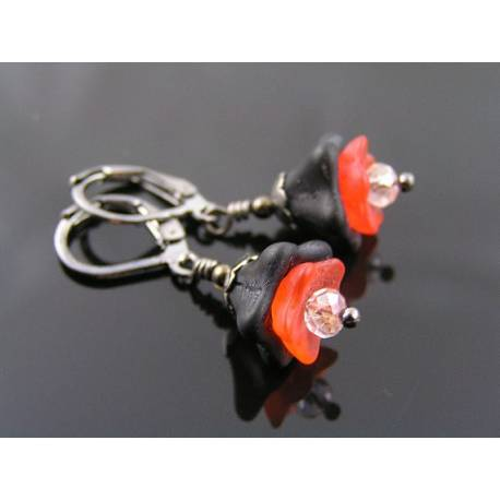 Orange and Black Flower Earrings