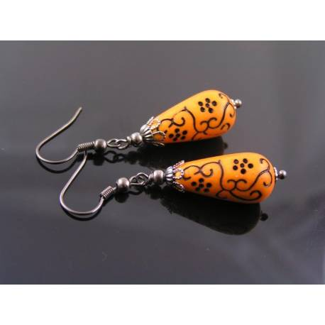 Ornate Orange and Black Earrings