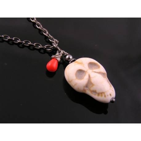 Carved Howlite Skull Necklace, Halloween Necklace