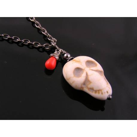 Carved Howlite Skull Necklace, Halloween Necklace