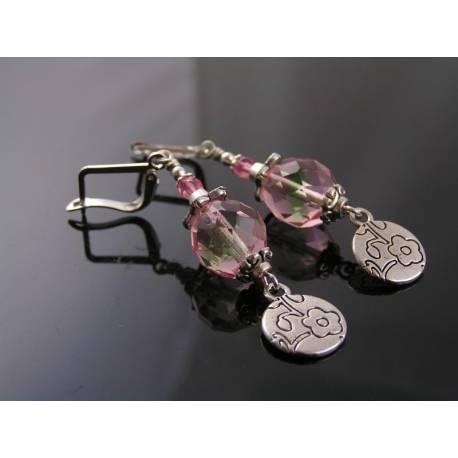 Czech Glass Flower Earrings