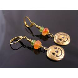 Carnelian and Peridot Earrings Pumpkin Charm - Halloween Earrings
