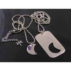 Matching Dog Tag and Crescent Moon Couple Necklaces
