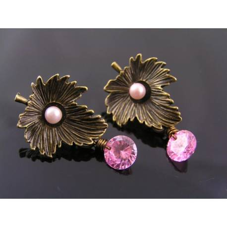 Maple Leaf Ear Studs with Pink Pearl and Pink Cubic Zirconia