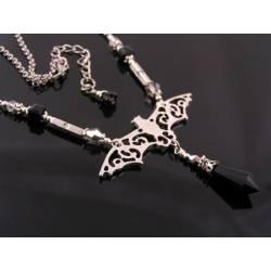 Bat Necklace with Black Crystal Drop