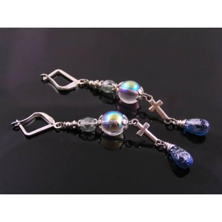 Inline Cross Earrings in Blue and Silver
