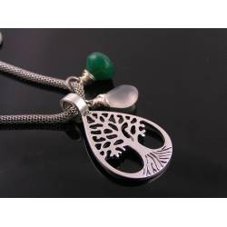 Tree of Life Necklace with Green Onyx and Moonstone
