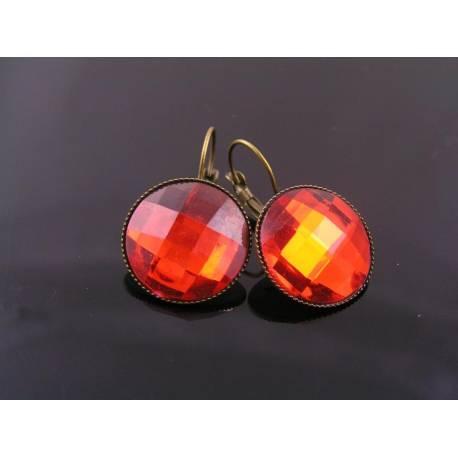 Red Cabochon Sleeper Earrings