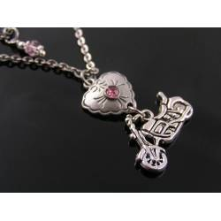Motorbike Charm and Heart Necklace, Customisable