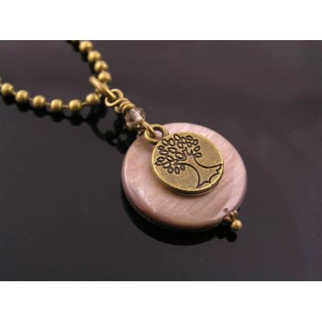 Mother of Pearl Disc with Tree Charm Necklace