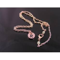 Initial Necklace, Rose Gold