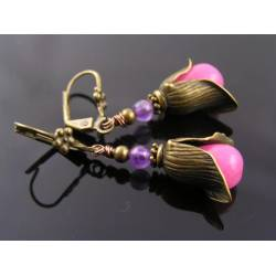 Pink Jade and Amethyst Earrings