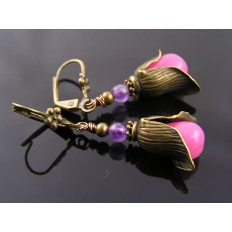 Pink Jade and Amethyst Earrings