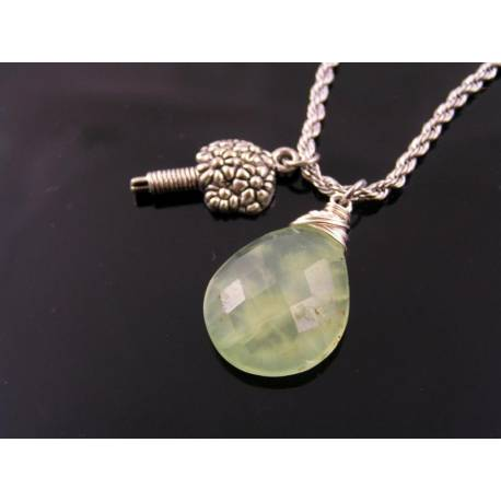 Prehnite Necklace with Flower Charm
