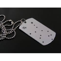 Dog Tag Necklace with Star Sign Constellation, Virgo Star Sign