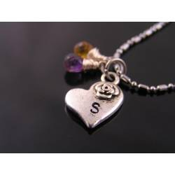 Initial Necklace with Amethyst and Citrine, Heart Pendant
