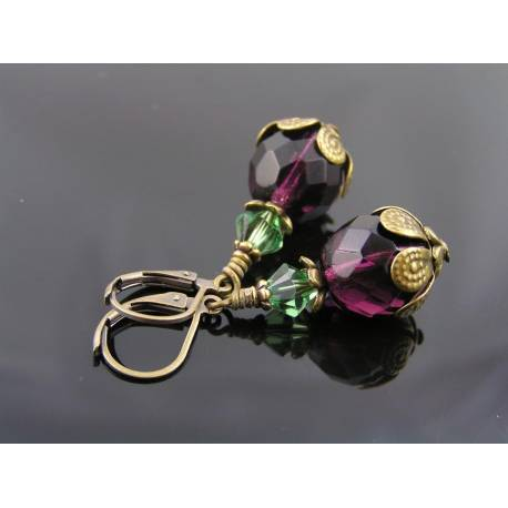 Czech Glass Bead Earrings, Purple and Green