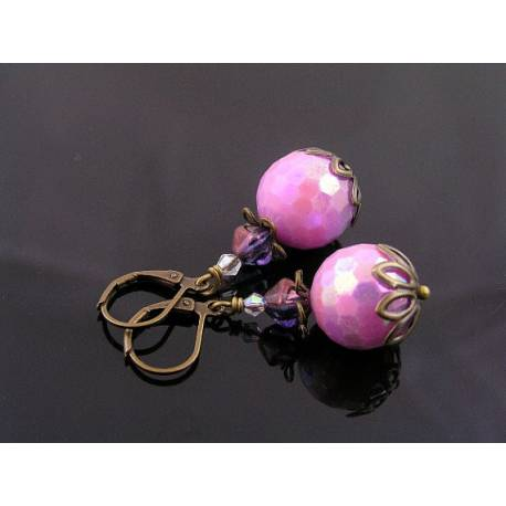 Faceted Vintage Pink Acrylic Earrings