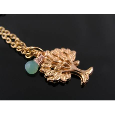 Rose Gold Necklace with Tree of Life Charm and Chrysoprase