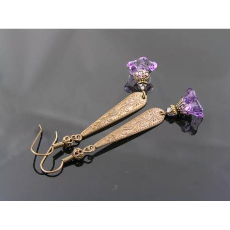 Long Ornate Dangle Earrings with Purple Flowers