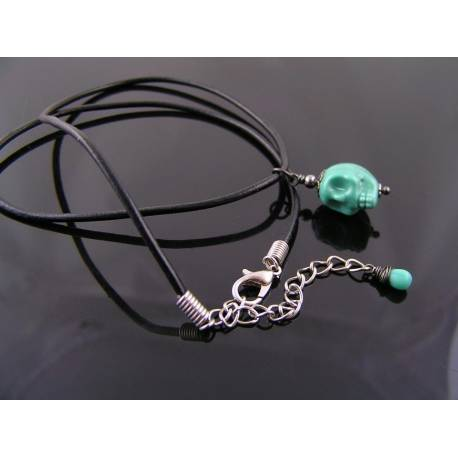 Green Skull on Black Leather Necklace