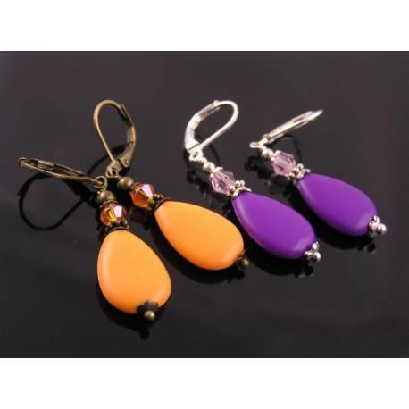 Bright Drop Earrings, Purple or Orange