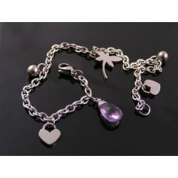 Birthstone Bracelet, Charm Bracelet, Durable Stainless Steel