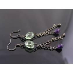 Fluorite and Amethyst Earrings