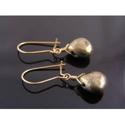 Pyrite Earrings, gold filled