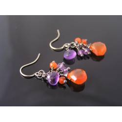Carnelian and Amethyst Earrings