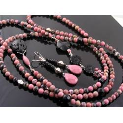 Rhodonite, Black Onyx and Lava Stone Lariat, Sterling Silver