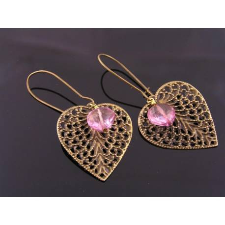 Filigree Heart and Mystic Pink Quartz Earrings