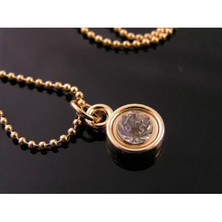 Crystal Solitaire, Pale Rose Gold Necklace