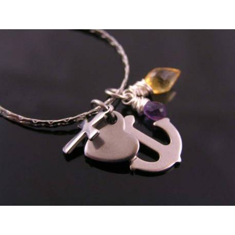 Faith, Love and Hope Necklace with Citrine and Amethyst