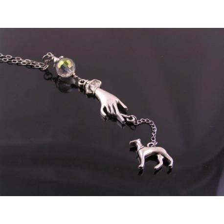 Art Deco Style Hand and Greyhound Necklace