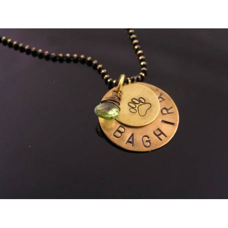 Pet Name Necklace with Birthstone